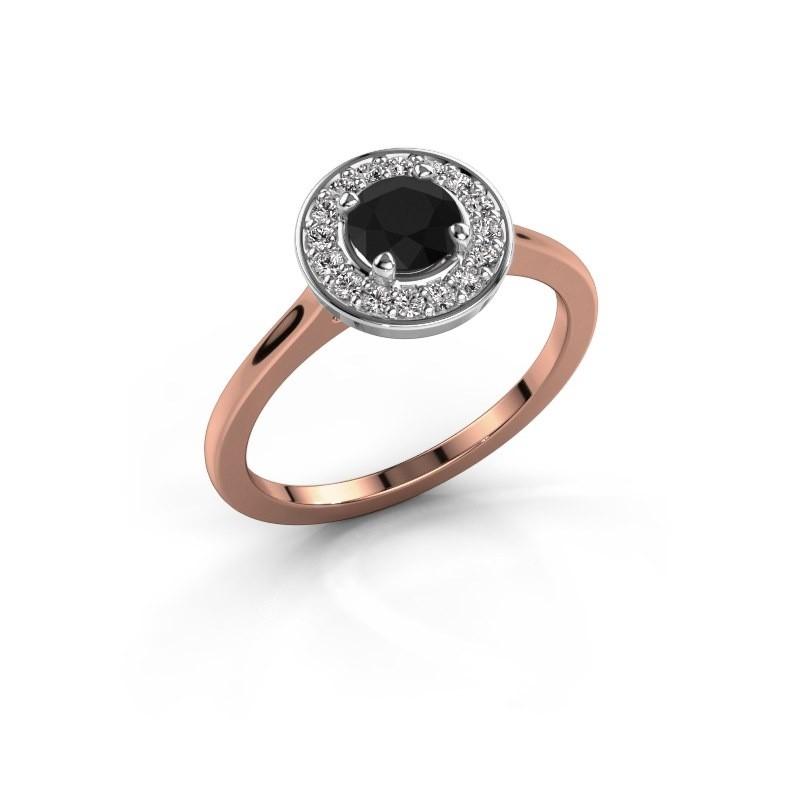 Ring Agaat 1 585 rosé goud zwarte diamant 0.76 crt