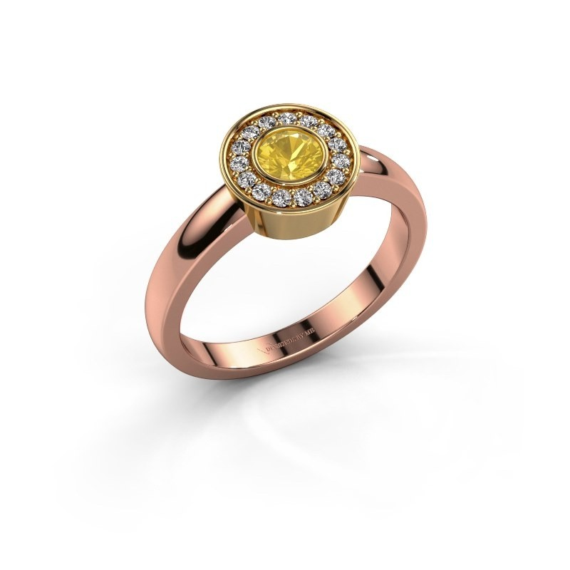 Ring Adriana 1 585 rosé goud gele saffier 4 mm
