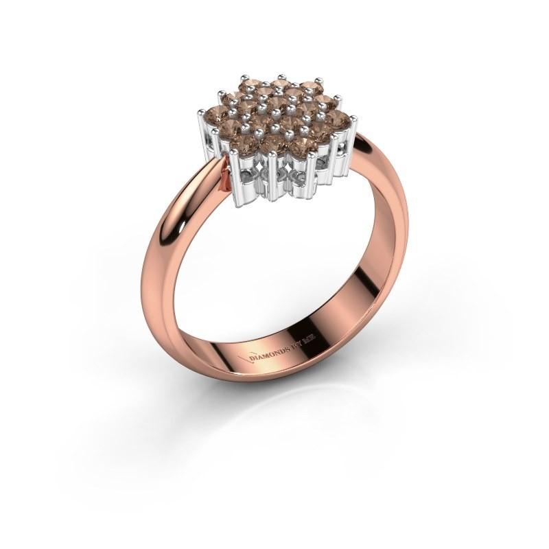 Ring Bente 585 rosé goud bruine diamant 0.532 crt