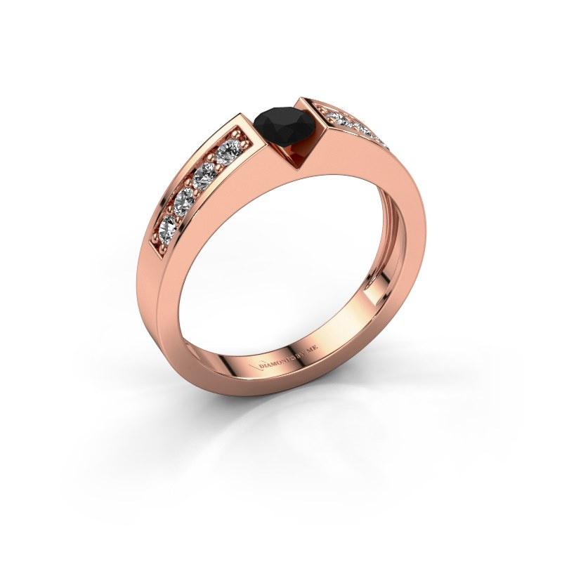 Engagement ring Lizzy 2 585 rose gold black diamond 0.36 crt