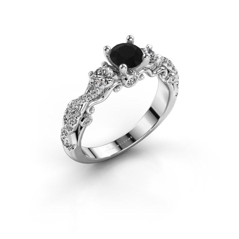 Verlovingsring Kourtney 585 witgoud zwarte diamant 1.156 crt