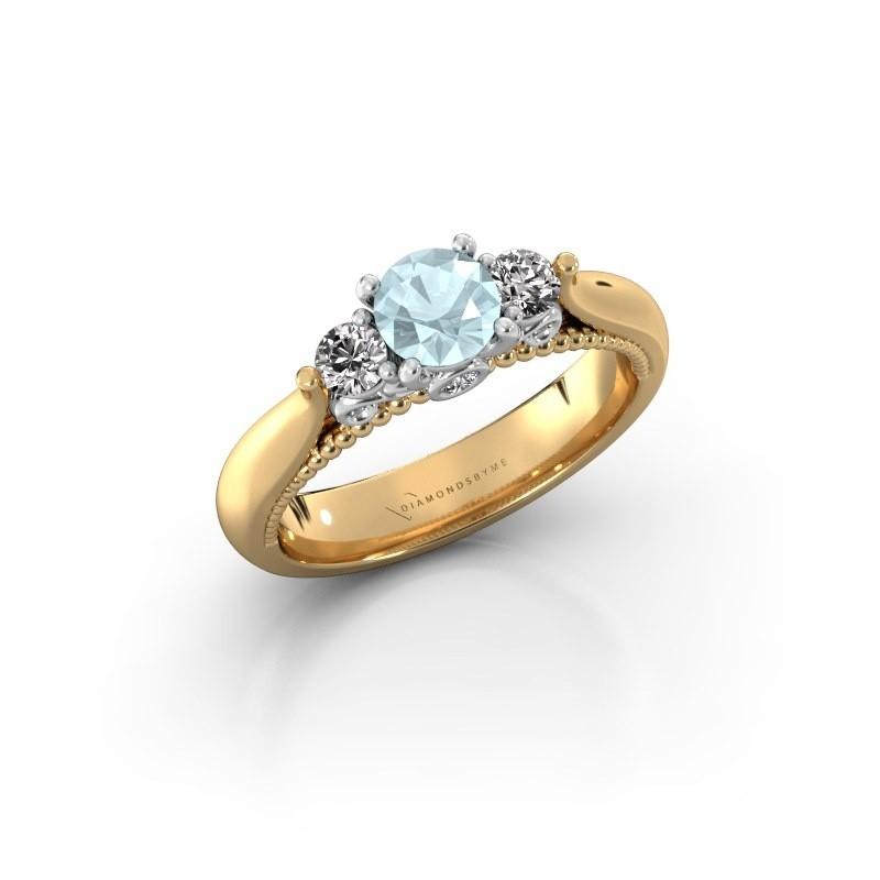 Verlovingsring Tiffani 585 goud aquamarijn 5 mm