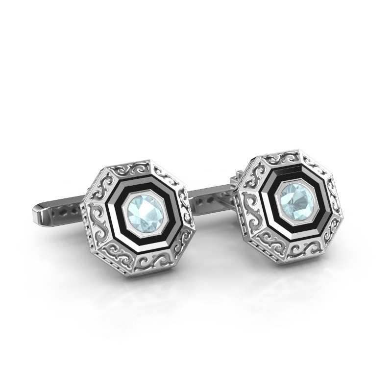 Cufflinks Dion 925 silver aquamarine 5 mm