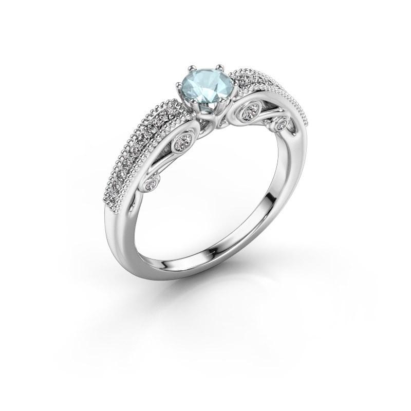 Engagement ring Christeen 585 white gold aquamarine 4.2 mm