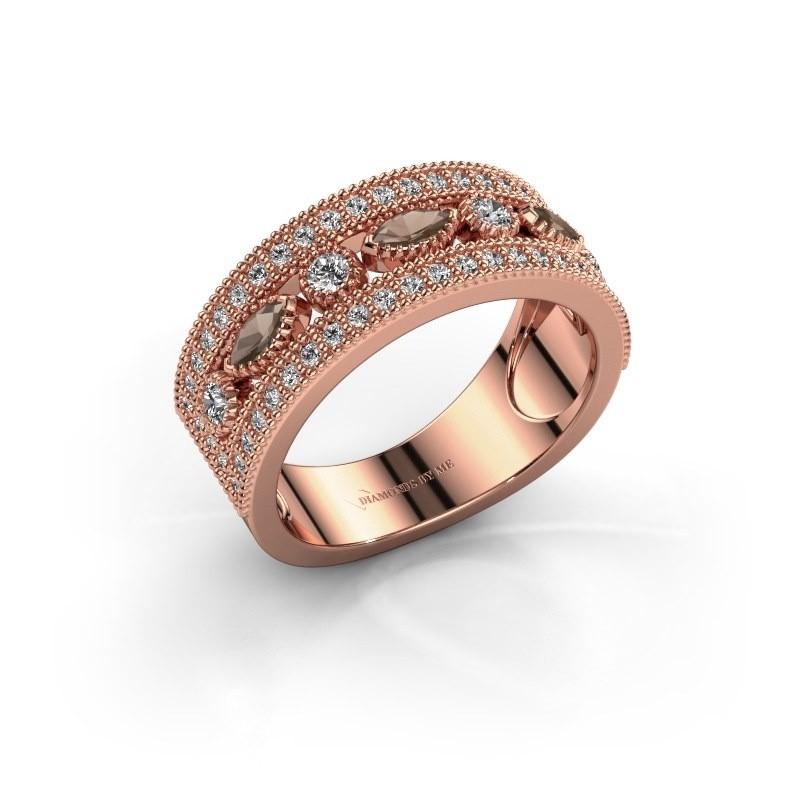 Ring Henna 375 rosé goud rookkwarts 4x2 mm