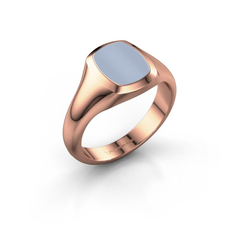 Signet ring Zelda 1 375 rose gold light blue sardonyx 10x8 mm