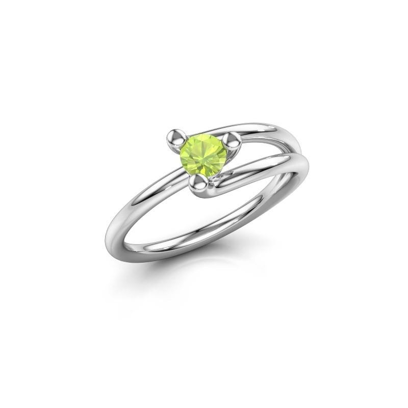 Engagement ring Roosmarijn 585 white gold peridot 4 mm