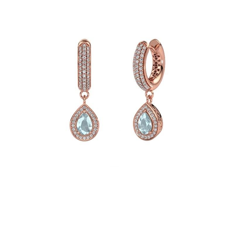 Drop earrings Barbar 2 375 rose gold aquamarine 6x4 mm