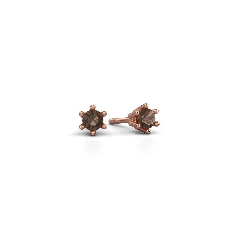 Oorbellen Fay 375 rosé goud rookkwarts 3.4 mm