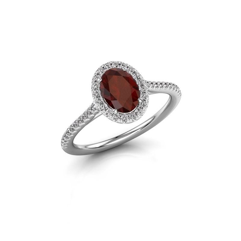 Engagement ring Seline 2 585 white gold garnet 7x5 mm