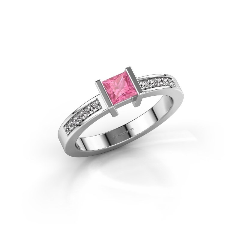 Engagement ring Jordan 950 platinum pink sapphire 4 mm