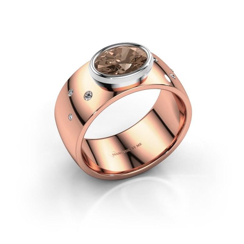 Ring Wilma 2 585 rosé goud bruine diamant 1.15 crt