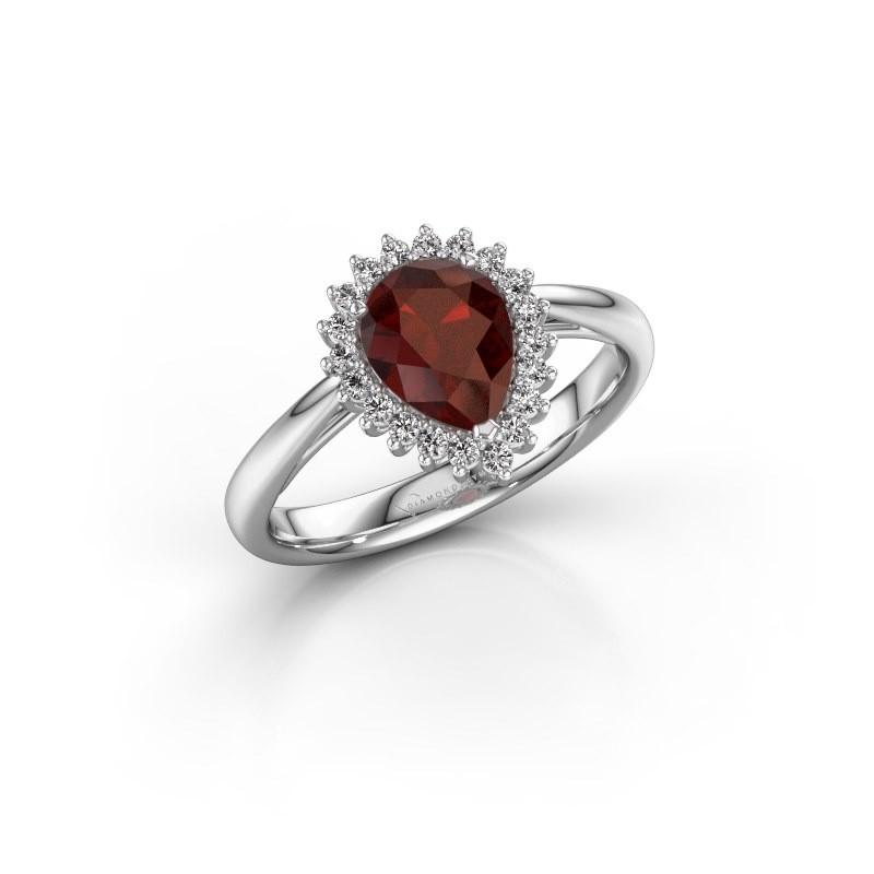Engagement ring Tilly per 1 585 white gold garnet 8x6 mm