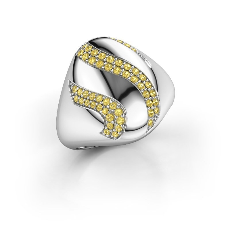 Ring Vilma 585 white gold yellow sapphire 1.2 mm