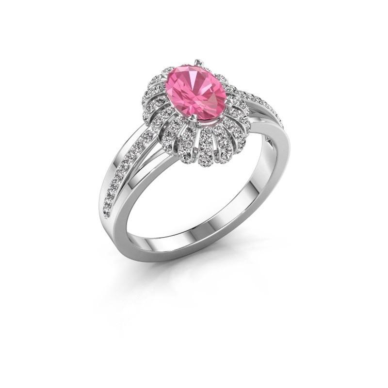 Verlobungsring Twila 950 Platin Pink Saphir 7x5 mm