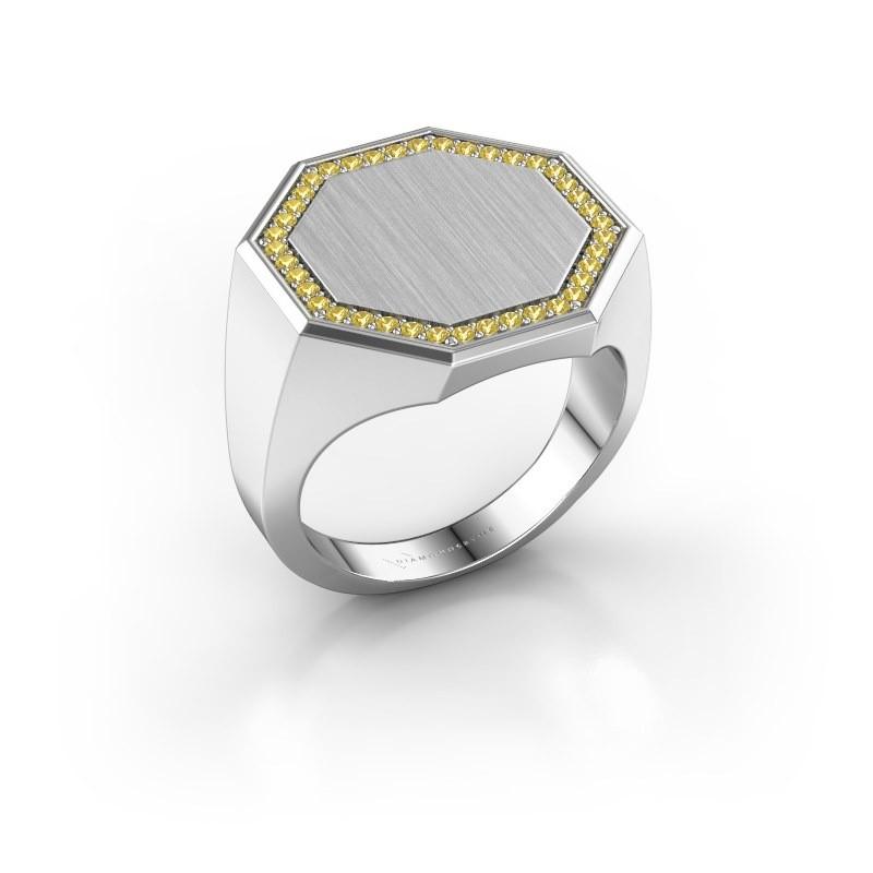 Heren ring Floris Octa 4 375 witgoud gele saffier 1.2 mm