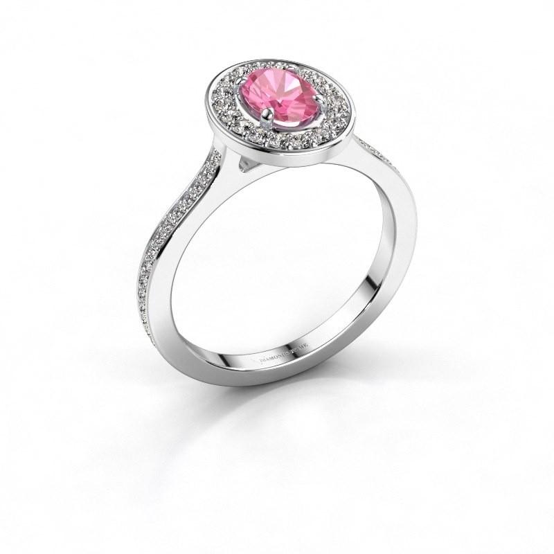 Ring Madelon 2 585 witgoud roze saffier 7x5 mm