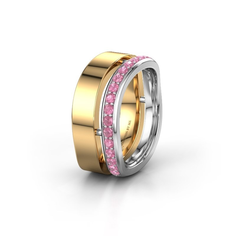 Weddings ring WH6008L18BP 585 gold pink sapphire ±0.39x0.08 in