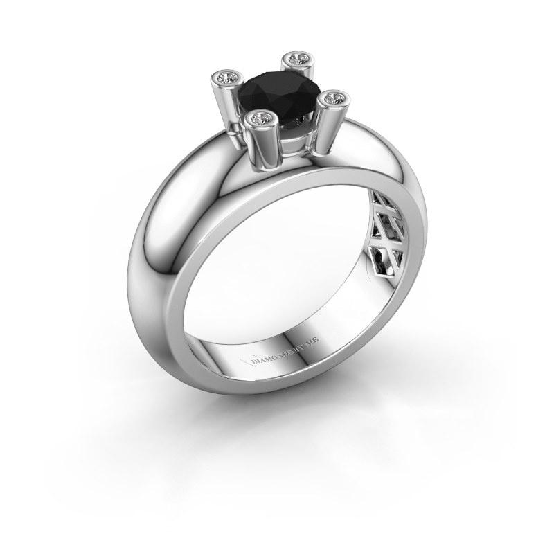 Ring Cornelia Round 925 silver black diamond 0.60 crt