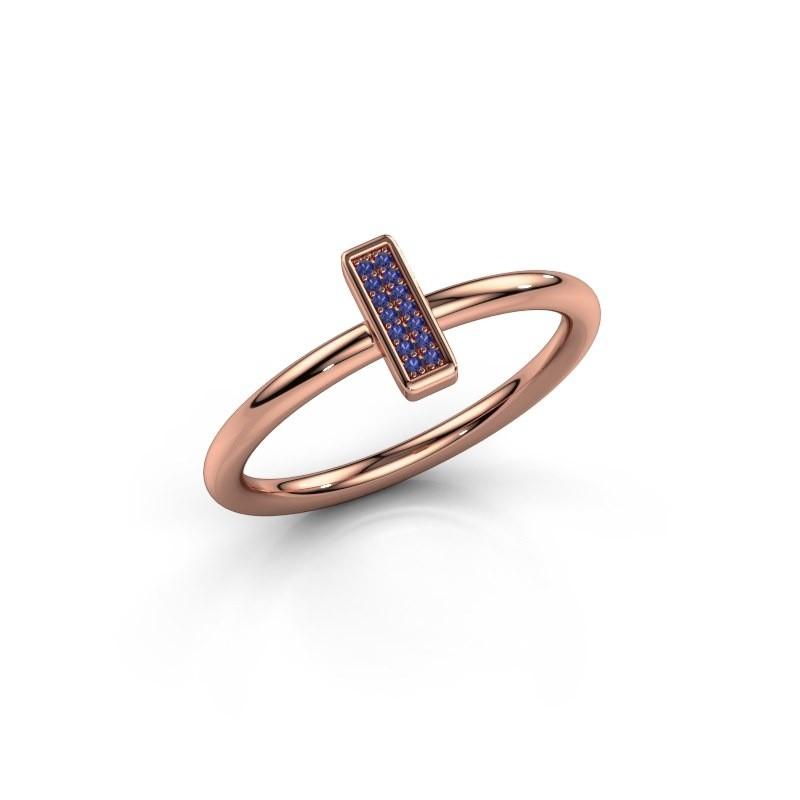 Ring Shape stripe small 375 rosé goud saffier 0.8 mm