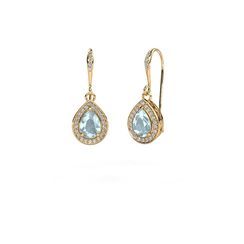 Drop earrings Beverlee 2 375 gold aquamarine 7x5 mm
