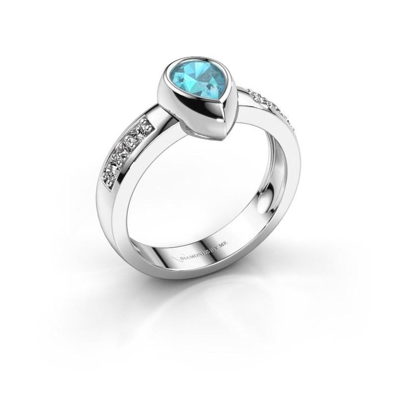 Ring Charlotte Pear 585 Weißgold Blau Topas 8x5 mm