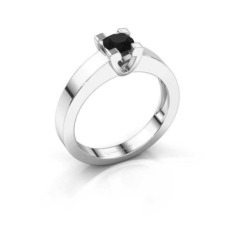Promise ring Anne 1 585 witgoud zwarte diamant 0.48 crt