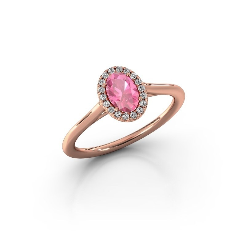 Engagement ring Seline 1 585 rose gold pink sapphire 6x4 mm