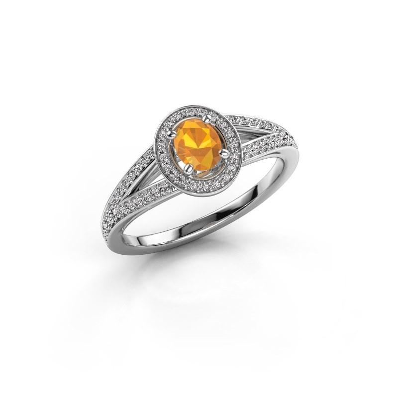 Verlovings ring Angelita OVL 950 platina citrien 6x4 mm