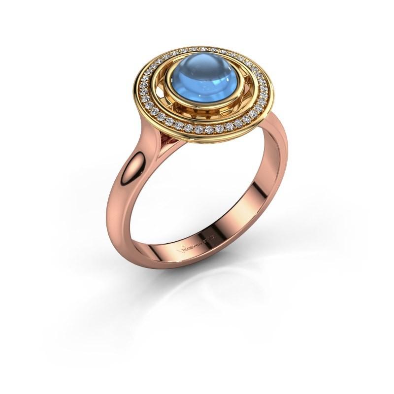 Ring Salima 585 rosé goud blauw topaas 6 mm