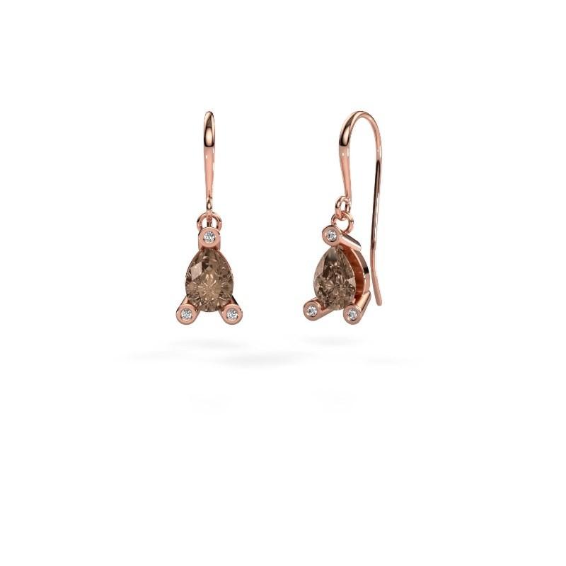 Oorhangers Bunny 1 375 rosé goud bruine diamant 1.345 crt