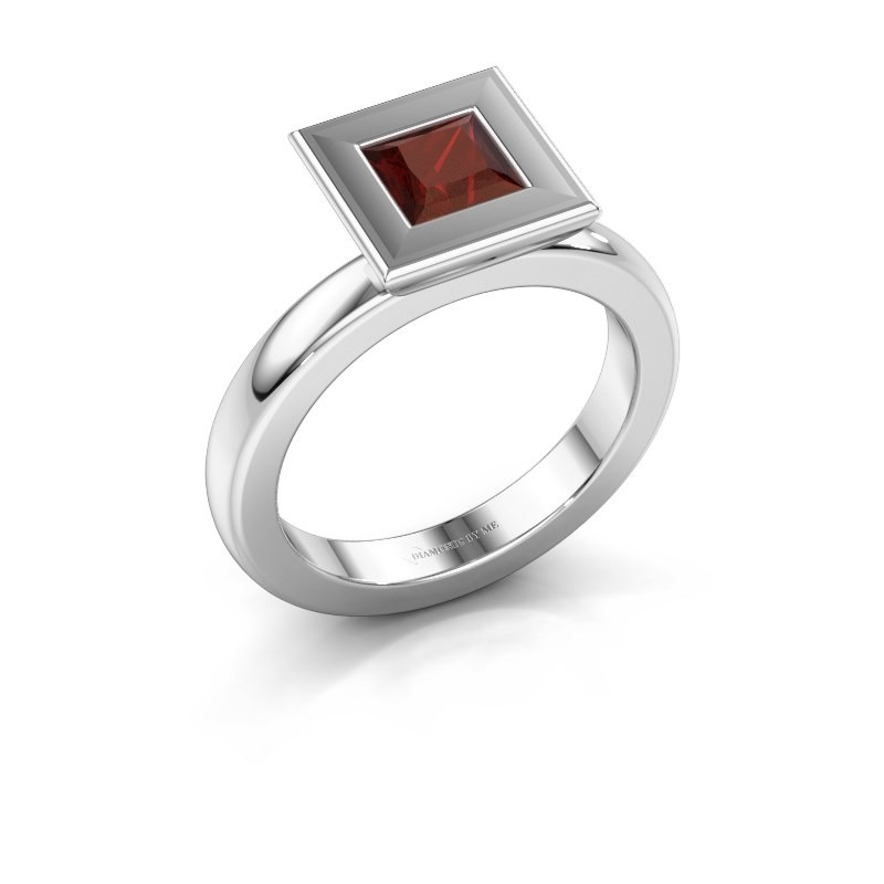 Stapelring Eloise Square 925 zilver granaat 5 mm
