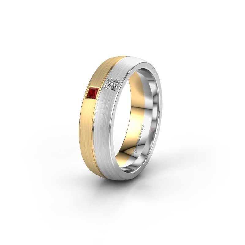 Wedding ring WH0250L26BM 585 gold ruby ±0.24x0.08 in