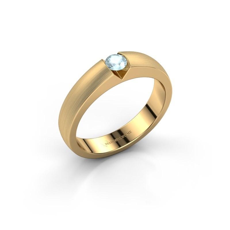 Verlovingsring Theresia 375 goud aquamarijn 3.4 mm