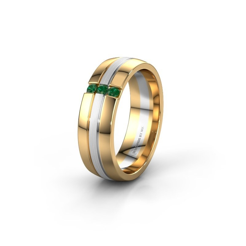 Wedding ring WH0426L26A 585 gold emerald ±0.24x0.07 in