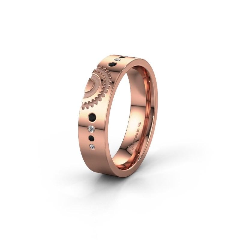 Trouwring WH2116L25A 375 rosé goud zwarte diamant ±5x1.7 mm