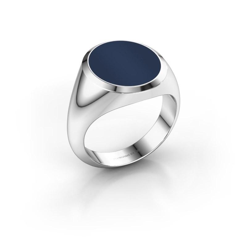Zegelring Herman 5 375 witgoud donker blauw lagensteen 15x13 mm