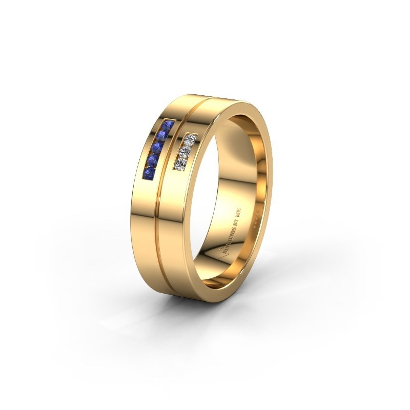 Wedding ring WH0207L16AP 585 gold sapphire ±0.24x0.07 in