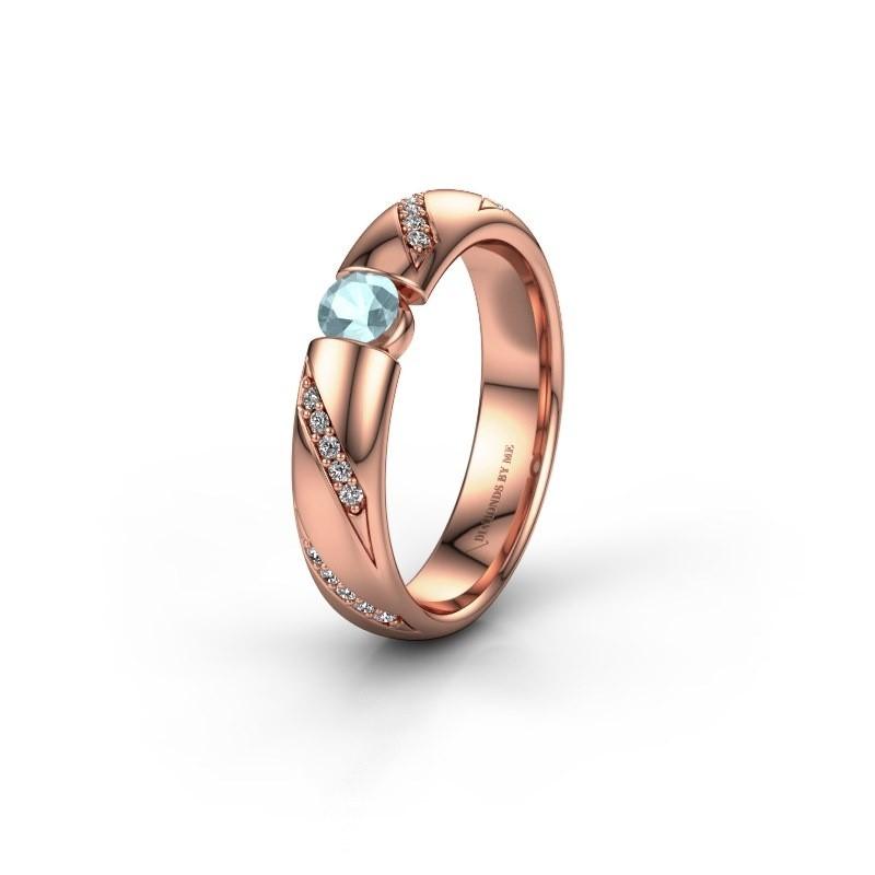 Trouwring WH2102L34A 375 rosé goud aquamarijn ±4x1.7 mm