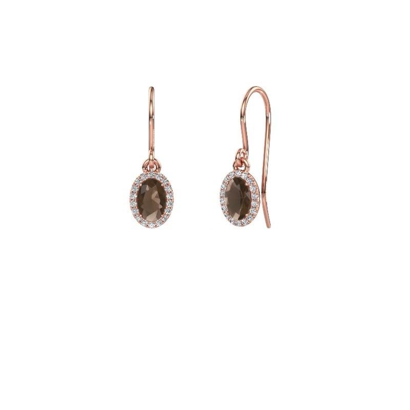 Oorhangers Seline ovl 375 rosé goud rookkwarts 6x4 mm