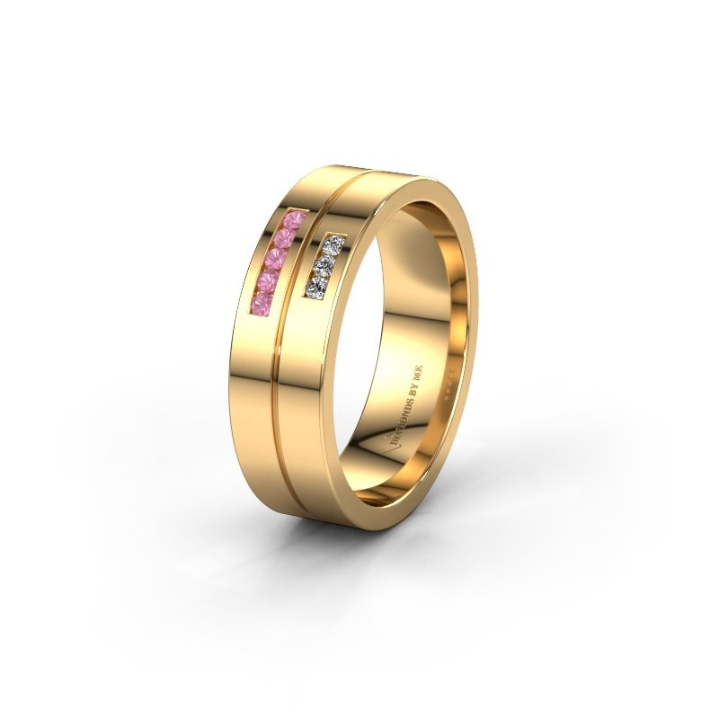 Wedding ring WH0207L16AP 585 gold pink sapphire ±0.24x0.07 in
