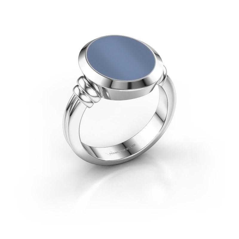Zegelring Jake 3 950 platina licht blauwe lagensteen 15x12 mm