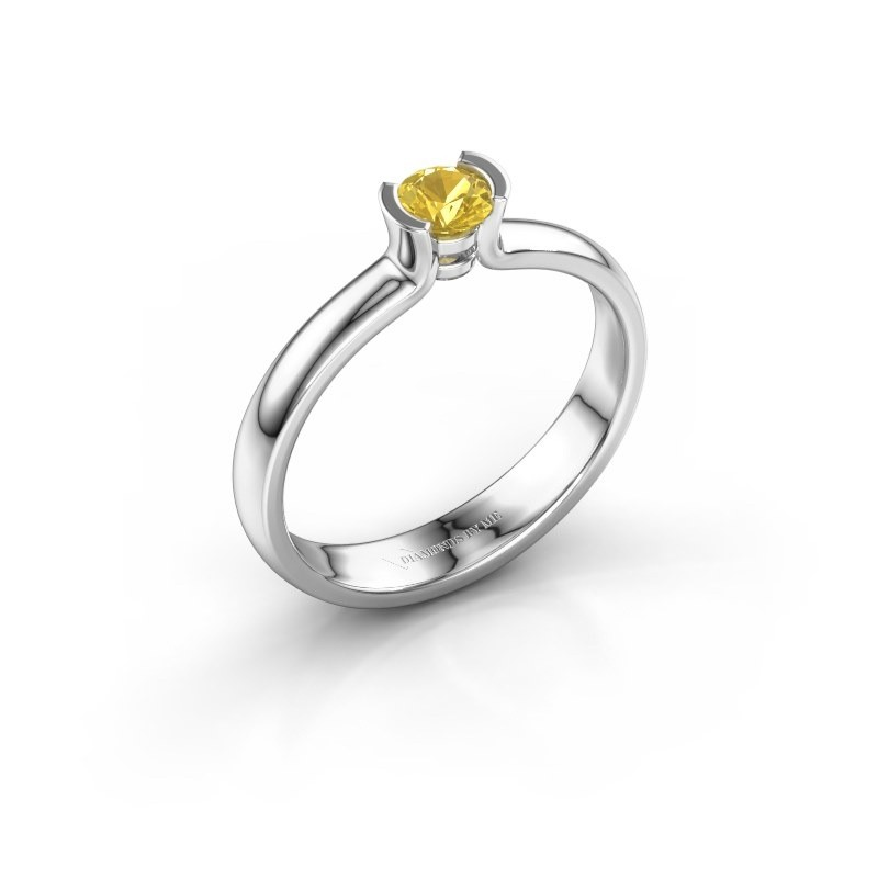 Engagement ring Ophelia 925 silver yellow sapphire 4 mm