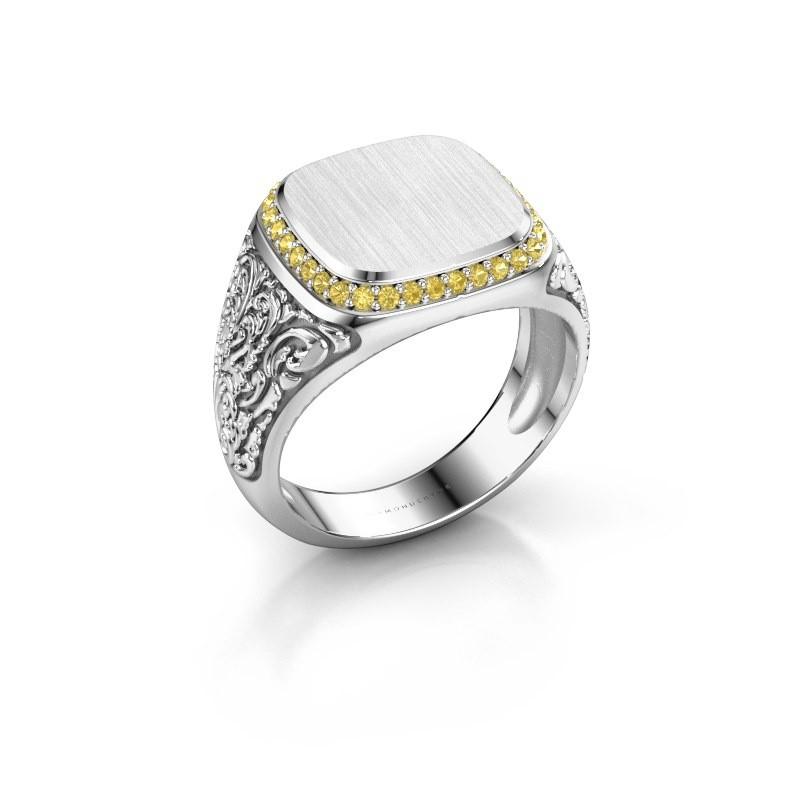 Heren ring Jesse 2 950 platina gele saffier 1.2 mm