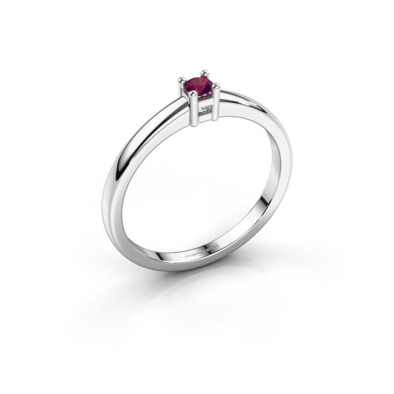 Promise ring Eline 1 585 witgoud rhodoliet 3 mm