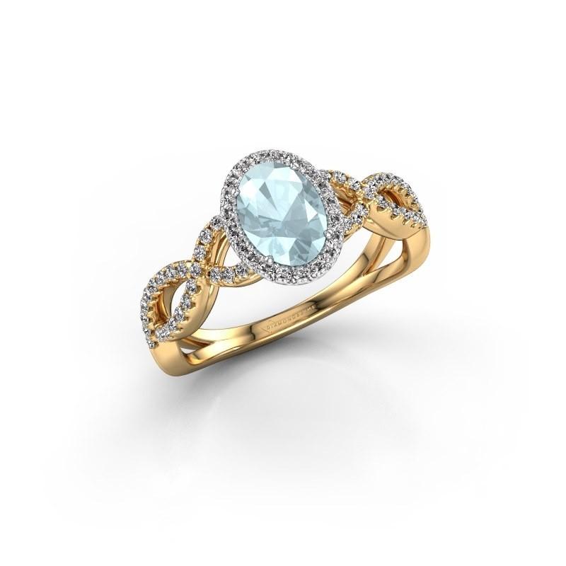 Engagement ring Dionne ovl 585 gold aquamarine 7x5 mm