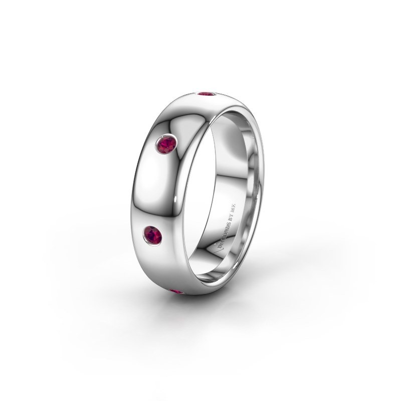 Wedding ring WH0105L36BP 585 white gold rhodolite ±0.24x0.08 in