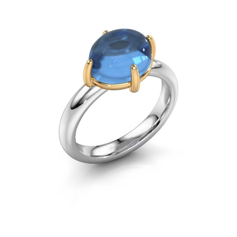 Ring Melodee 585 witgoud blauw topaas 10x8 mm