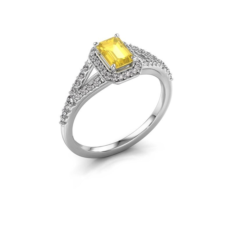 Bague de fiançailles Pamela EME 585 or blanc saphir jaune 6x4 mm
