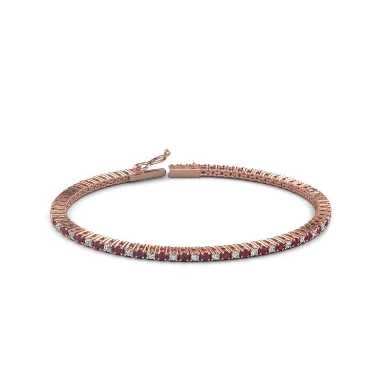 Tennis bracelet Simone 375 rose gold rhodolite 2 mm
